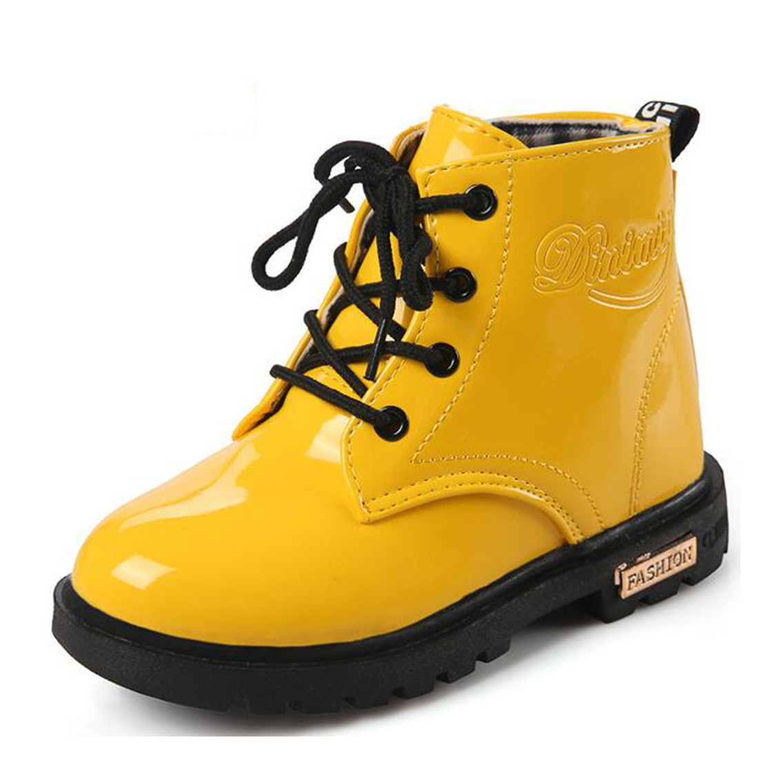 Boy's Girl's Waterproof Side Zipper Lace-Up Ankle Boots