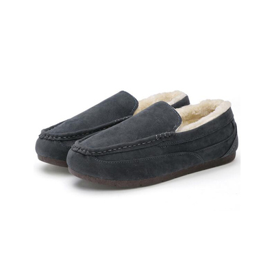 DADAWEN Men's Casual Indoor Outdoor Slip On Fur Lined Moccasin Slippers