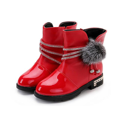 DADAWEN Girl's Waterproof Bowknot Pom Pom Side Zipper Fur Lined Ankle Winter Snow Boots (Toddler/Lit