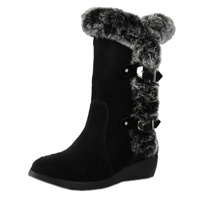 DADAWEN Women's Suede Mid Calf Buckle Warm Fur Lined Snow Boots