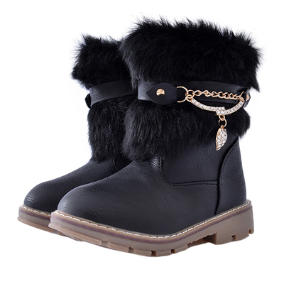 DADAWEN Girl's Rhinestone Side Zipper Warm Fur Lined Winter Snow Boots (Toddler/Little Kid/Big Kid)