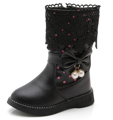 DADAWEN Girl's Waterproof Lace Bowknot Side Zipper Fur Winter Boots (Toddler/Little Kid/Big Kid)