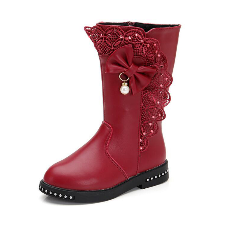 Girl's Waterproof Lace Bowknot Side Zipper Fur Lined Tall Winter Boots